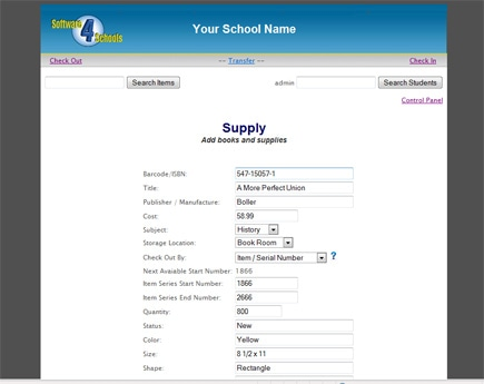 Add Supplies to checkout supply application